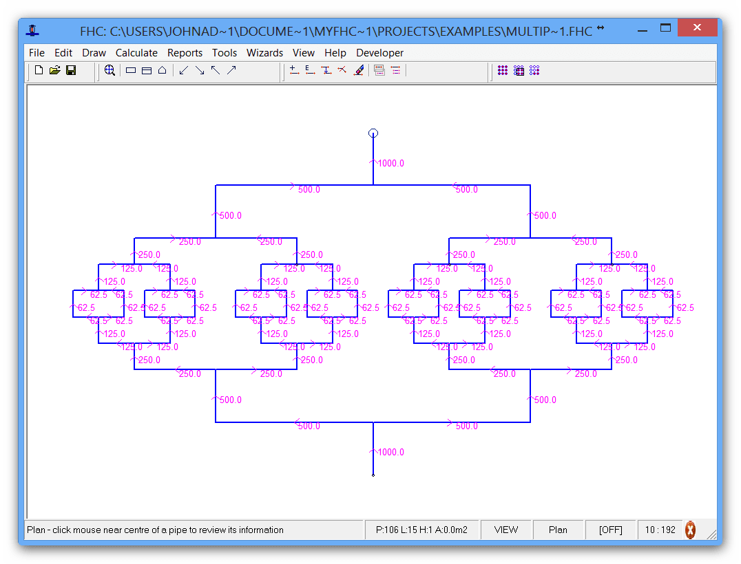 Multiple loop hydraulic calculation showing the versatility of FHC